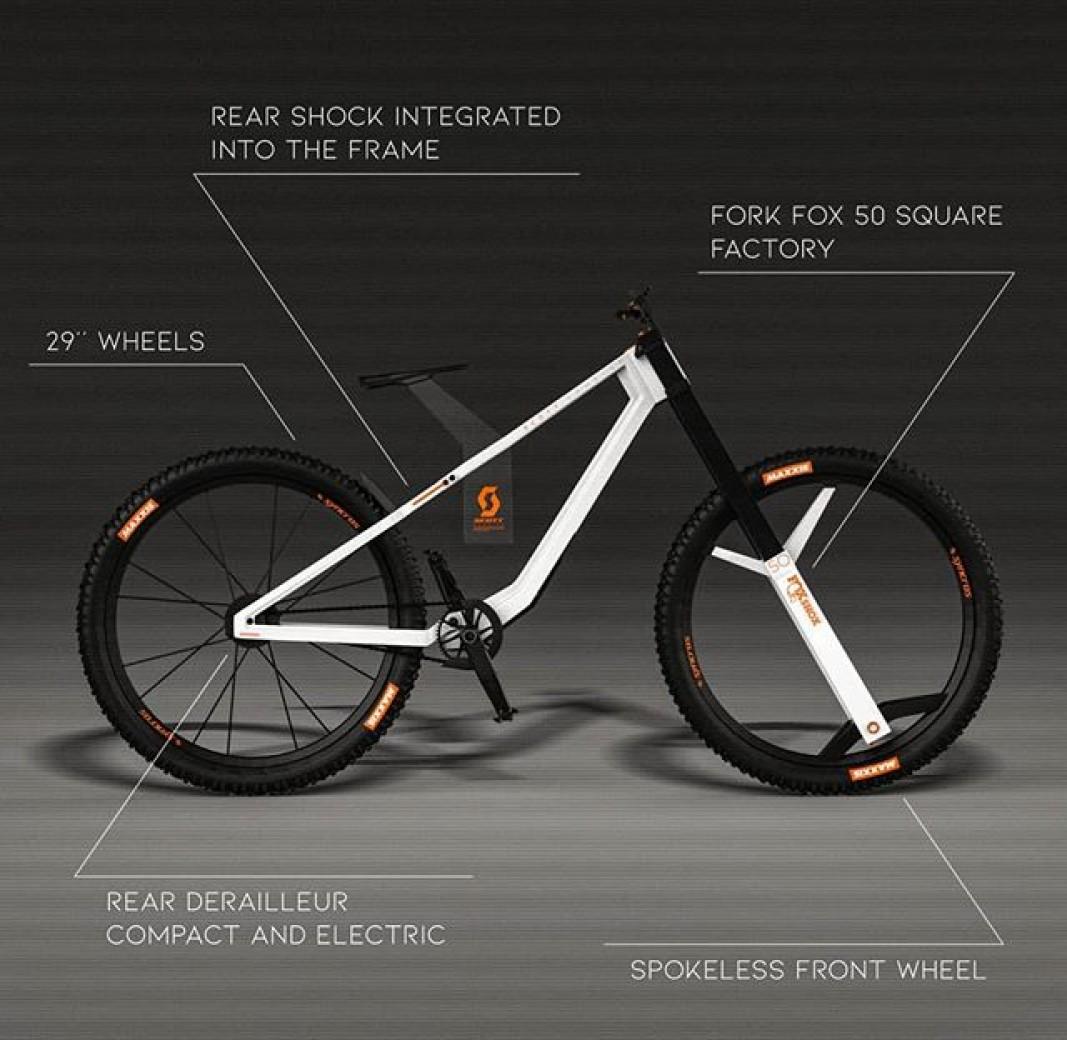 """Mientras la mayoría de los mortales nos conformamos con montar en una buena mountain bike, algunos pocos privilegiados, con la imaginación, los conocimientos y las herramientas adecuadas, se dedican a repensar el futuro. ¿Cómo serán las mountain bikes de aquí a 10 años? Nadie lo sabe, pero este diseño es una posibilidad.    Cómo podría ser la Scott Gambler para 2030 Partamos de la base de que jugamos la liga de las fantasías, es decir, estamos hablando de prototipos que sólo existen en papel, sólo son diseños. Pero son apuntes de hacia dónde puede ir el diseño de las mountain bikes en las próximas décadas.  Este diseño en concreto corresponde al que sería un modelo nuevo de Scott, la Scott Gambler. Lo ha llevado a cabo un usuario de Instagram llamado kivavite (al parecer, su nombre real es Mathieu Petot, francés), que por lo visto se dedica al diseño industrial (y también por lo visto, de momento es sólo estudiante, lo que tiene más mérito aún).  Él ha hecho una propuesta para una Scott Gambler impresionante. Las imágenes que ha subido a su perfil personal son muy llamativas.    Características de una futura Scott Gambler El diseño ya de por sí es impactante, aprovechando un carácter cubista para un termoformado del cuadro que tiene en su barra superior del cuadro quizá su línea más rotunda: una horizontal completamente recta que vas desde la potencia al buje trasero. En ella, se incorpora el primer detalle: una suspensión trasera integrada totalmente en el cuadro y que propone que desarrollo FOX. Lo más parecido y novedoso es la Scott Spark, aunque es más XCO que descenso.  Esta Scott Gambler 2030 estaría fabricada en grafeno, un material que viene incorporándose al ciclismo desde hace ya unos 10 años, pero en elementos de seguridad. Un material excelente en cuanto a dureza y flexibilidad. En ese cuadro se embute una pieza plana que hace de tija de sillín y que se aprovecha para incorporar el logo de la Scott Gambler 2030.  Ruedas de 29"""" y una sorprendente rueda de"""