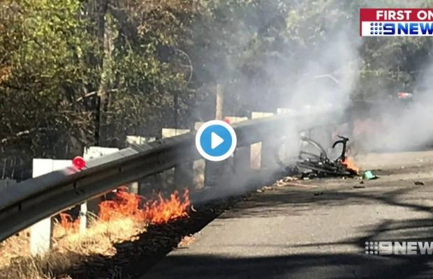 A este ciclista australiano le ha explotado y ardido su bici eléctrica cuando pedaleaba sobre ella
