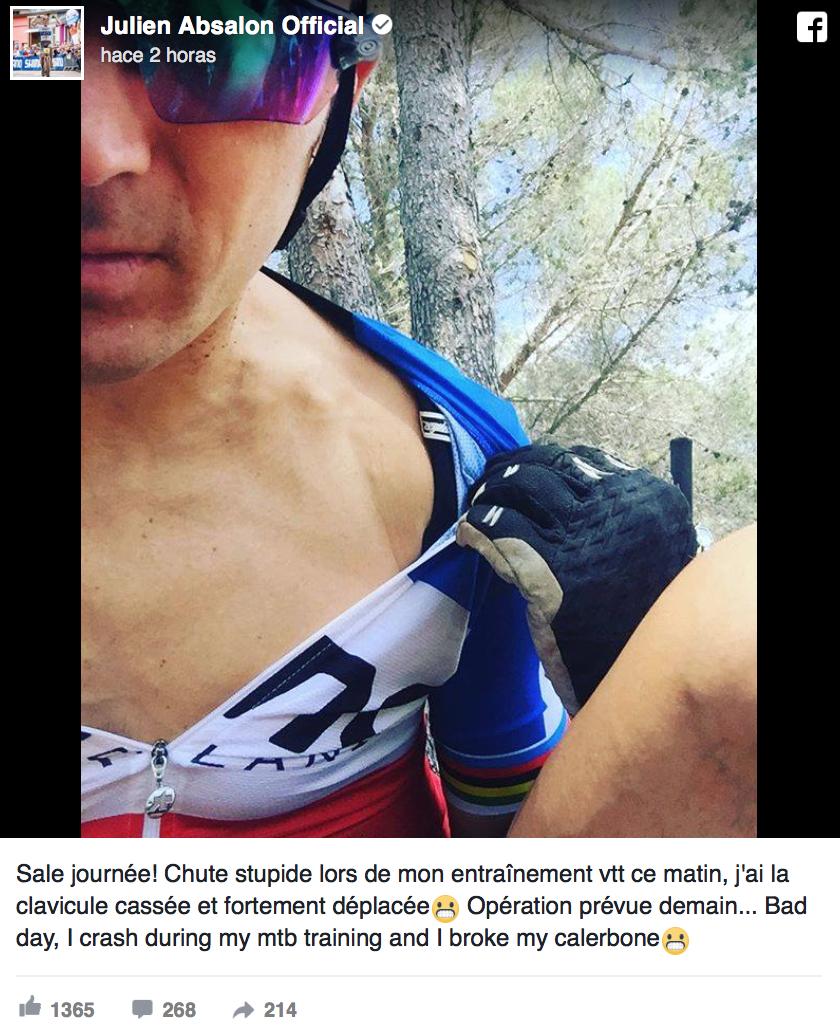 Julien Absalon se fractura la clavicula