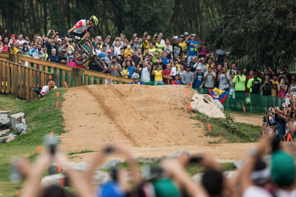 Nino Schurter having fun even at the most important race of the four years.