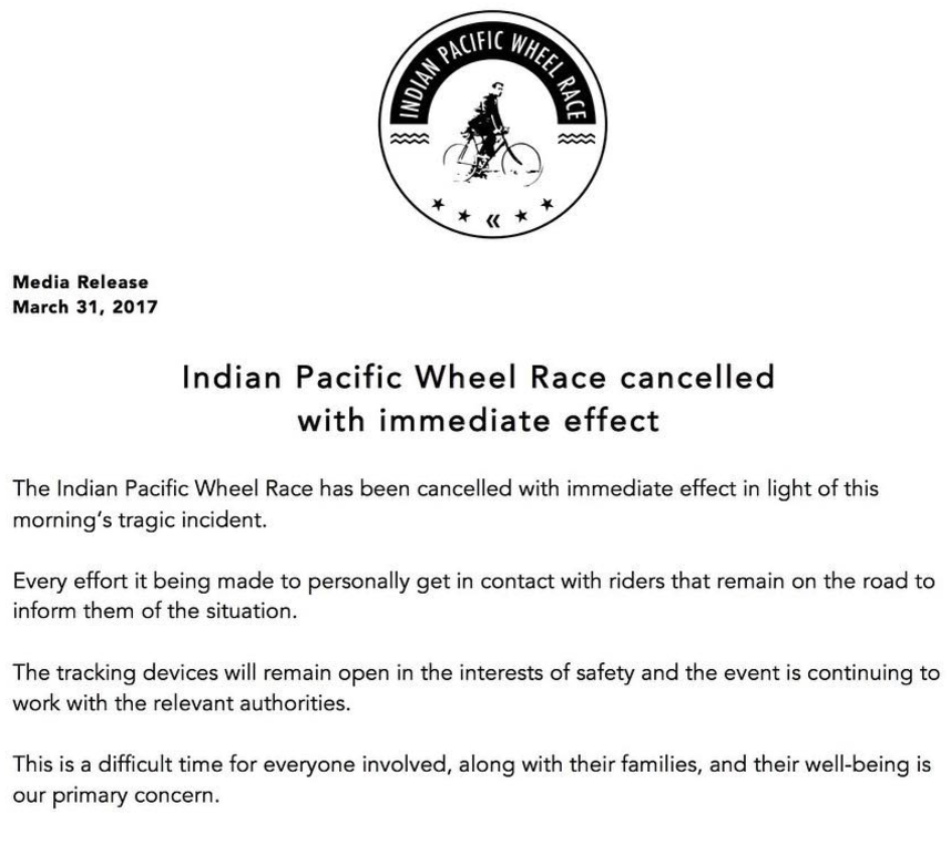 Indian Pacific Wheel Race cancelada